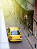 Yellow taxi car limousine waiting for customers Athens Royalty Free Stock Photos