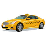 Yellow taxi car. Modern yellow taxi checkered car Royalty Free Stock Photo
