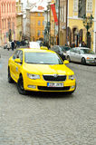 Yellow taxi car in Prague city Royalty Free Stock Image