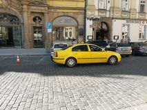 Yellow taxi car in Prague Royalty Free Stock Photo