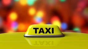 Yellow taxi car roof sign Stock Image
