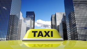Yellow taxi car roof sign Royalty Free Stock Images