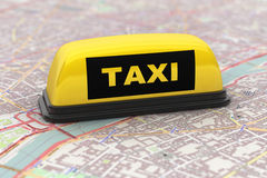 Yellow Taxi Car Roof Sign Stock Photo