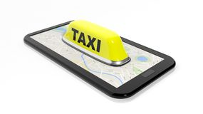 Yellow taxi car roof sign on phone Stock Images