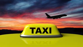 Yellow taxi car roof sign with sunset sky and airplane Royalty Free Stock Photo