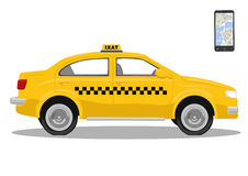 Yellow taxi car and smarthone. App for taxi. Application for calling taxi. Isolated over white background Royalty Free Stock Images