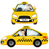 Yellow taxi car and taxi driver. He is fastened with a seat belt in the cabin. Vector flat illustration isolated on white background vector illustration