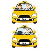 Yellow taxi car and taxi driver with passenger. They are fastened with a seat belt in the cabin. Vector flat illustration isolated on white background Stock Photo