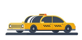 Yellow taxi car. Service for transportation passengers. Flat vector illustration isolated on white background. Yellow taxi car. Taxi service for transportation Stock Images