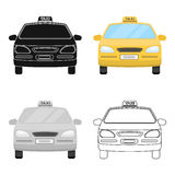 Yellow taxi car.Transport taxis for passengers. Taxi station single icon in cartoon style vector symbol stock Royalty Free Stock Photography