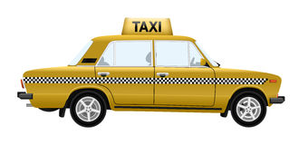 Yellow taxi car vector clipart illustration Royalty Free Stock Photo
