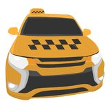 Yellow taxi car vector drawing illustration royalty free stock images