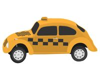 Yellow taxi car vector drawing illustration stock images