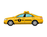Yellow taxi car  on white, Stock Image
