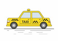 Yellow Taxi Cars isolated on white background. Yellow urban taxi cab isolated on white background. Taxi service. City transport Royalty Free Stock Photography