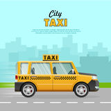 Yellow Taxi with Checker on the Road in City. Stock Photos