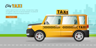 Yellow Taxi with Checker on the Road in City. Royalty Free Stock Photography