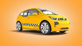 Yellow taxi electric car isolated 3d render on orange background. With shadow royalty free illustration
