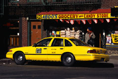 Yellow taxi in Greenwich Village Royalty Free Stock Photography