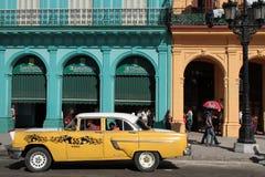 Yellow taxi in Havana Stock Images