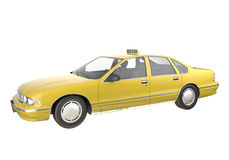 Yellow taxi isolated. American yellow taxi isolated on white. This image contains a clipping path Royalty Free Stock Photos