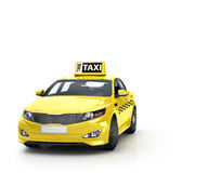 Yellow taxi isolated on white background. Stock Photo