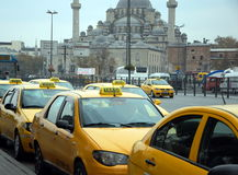Yellow taxi in Istanbul royalty free stock photos