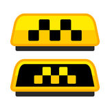 Yellow Taxi Logo Set with Boxes. Vector Royalty Free Stock Photography