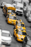 Yellow taxi in Manhattan, New York Stock Photos