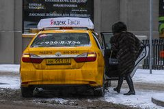 Yellow taxi in Moscow royalty free stock images