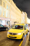 Yellow taxi in Moscow Royalty Free Stock Photo