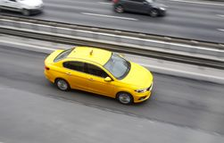 Yellow Taxi Motion Blur Royalty Free Stock Photography