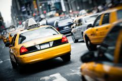 Yellow Taxi in New York City royalty free stock photos