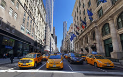 Yellow taxi in New York City, USA Royalty Free Stock Images