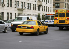 Yellow Taxi in New York Stock Photography