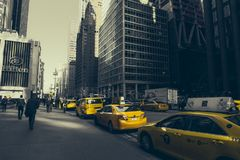 Yellow taxi in New York Royalty Free Stock Photo