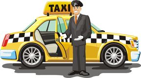 Yellow taxi. For passenger transportation Stock Photos
