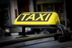 Yellow Taxi Sign Stock Image