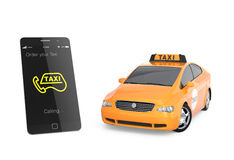 Yellow taxi and smart phone for mobile taxi order service concept Royalty Free Stock Image