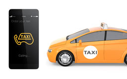 Yellow taxi and smart phone for mobile taxi order service concept Stock Image