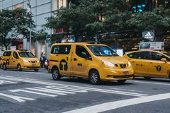 Yellow taxi on the street in New York, USA. stock photography