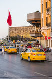 Yellow taxi on the streets of Istanbul. Transport Turkey. Royalty Free Stock Photography