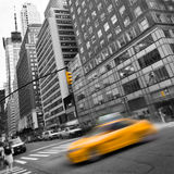 Yellow taxi in the streets of Manhattan Royalty Free Stock Images