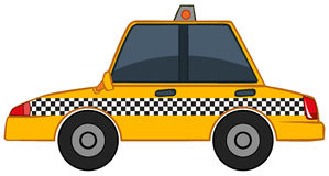 Yellow taxi on white background Royalty Free Stock Photo