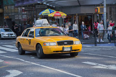 Yellow taxicab in New York City Stock Images