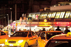 Yellow taxies in Taksim  Istanbul  Turkey Royalty Free Stock Images