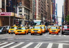 Yellow taxis at the New York City street Stock Photo