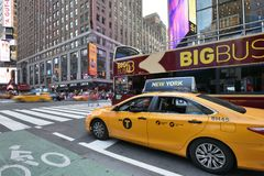 Yellow Taxis on street Royalty Free Stock Photos