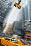 Yellow taxis in the streets of Manhattan Stock Photography