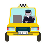 Yellow taxis and the taxi driver. vector flat design Royalty Free Stock Photos